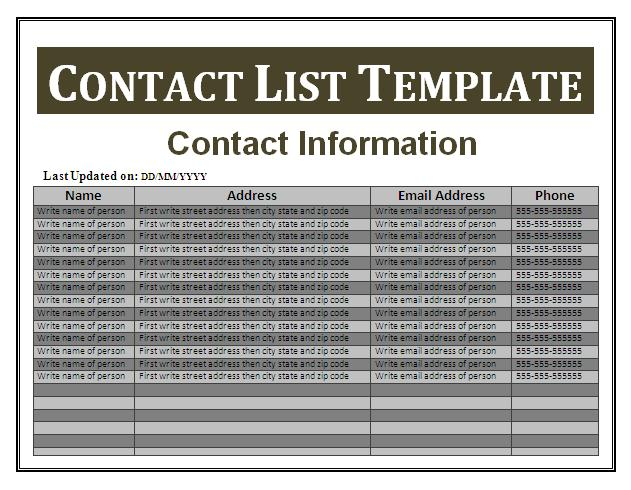 Contact List Template Word  Contacts Template Word