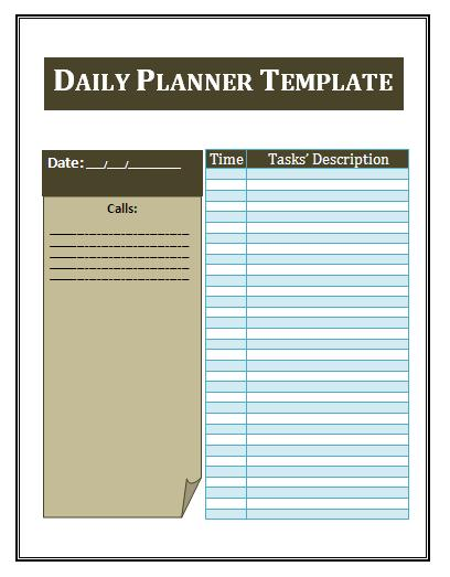 daily planner word template