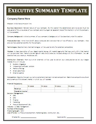 writing executive summary template