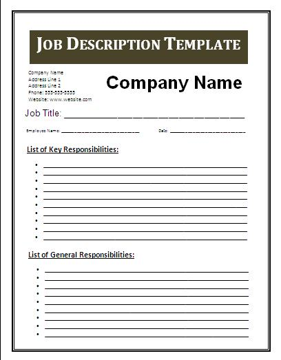 Job description template free business templates for Free job description template